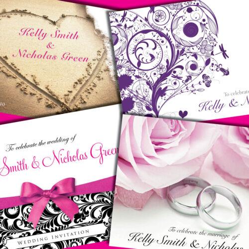 Personalised Wedding Invitations with Envelopes • Folding Day Evening Invites •