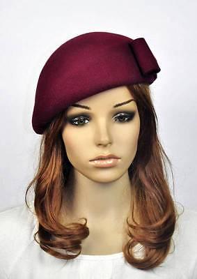 JM60 CUTE Bow 100% Wool Women's Winter Church Tea Dress Hat Cap Fedora WINE-RED