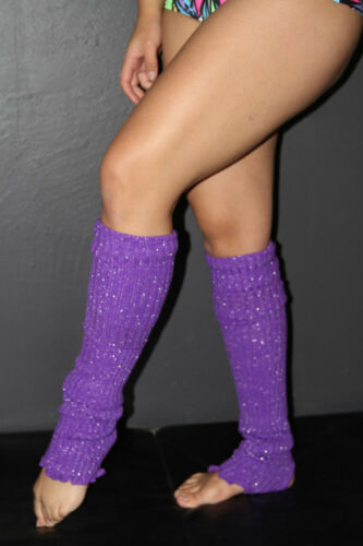 Pole Dance Gym Glitter Extra long Stirr-up Knit Legwarmers Candy