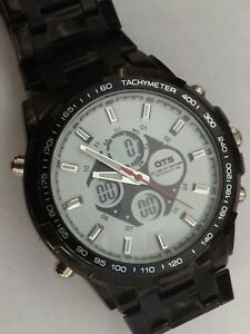 a vintage gents stainless steel cased chrono style OTS watch GWO