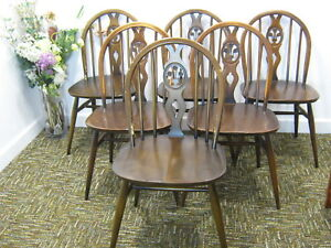 best website 60a5f 28be2 Details about Vintage Ercol Dining Chairs, set 6 retro kitchen chairs,  shabby chic. Northants