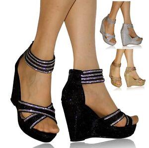 Zapatos Mujer Alto Sandalias Pedrería Cuña Tacón Media Novia De ZPOXuki