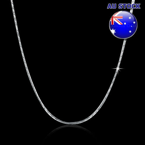 Wholesale Classic 18K White Gold Filled 1mm Polished Snake Twisted Rope Solid Ch