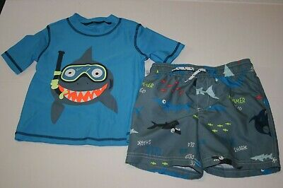 4T Blue Snorkeling Shark Carters Boys Rash Guard /& Swim Shorts Set