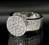 Cluster Silver Finish Prong Set Cubic Zirconia Engagement Bling Lady Luxury Ring