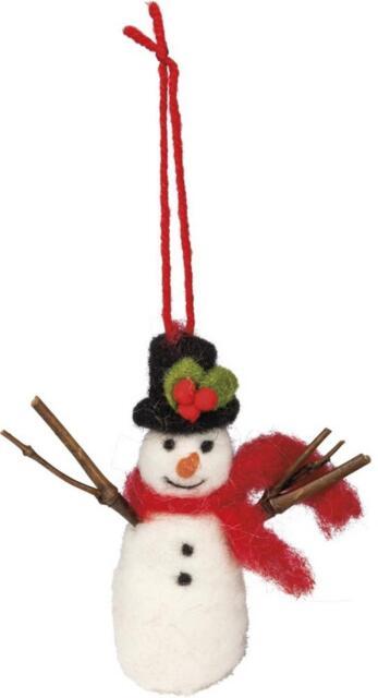Primitive Country Folk-Art Felted Wool Snowman Ornament