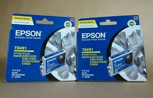 [1179*] 2x (Two)  EPSON T0491 (C13T049190) BLACK INKS ( RRP>$60 )