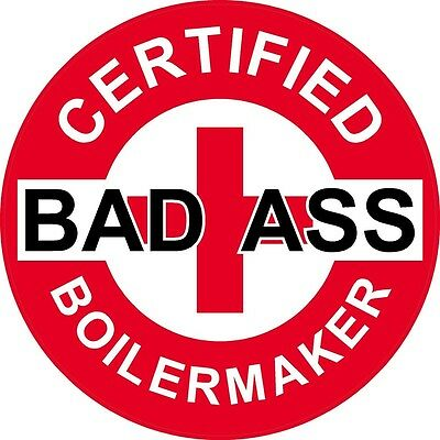 WHITE ON RED HARD HAT STICKER LOT OF 3 CERTIFIED BAD A$$ BOILERMAKER STICKER