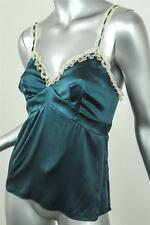 REBECCA TAYLOR Womens Teal Satin Silk Camisole Cami Tank Shirt Top Blouse 4 NEW