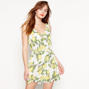 Treu Red Herring ss1 Yellow Lemon Print Playsuit Rrp £29 Modische Muster