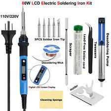 Soldering Iron Kit 80w Lcd Digital Solder Gun 110v220v Adjustable Temperature