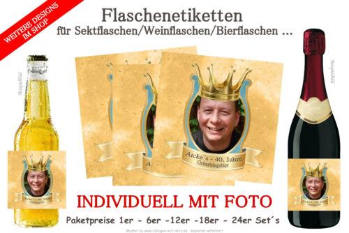 Sektflaschen D30 Bierflaschen für Geburtstag mit Foto Flaschenetikett f