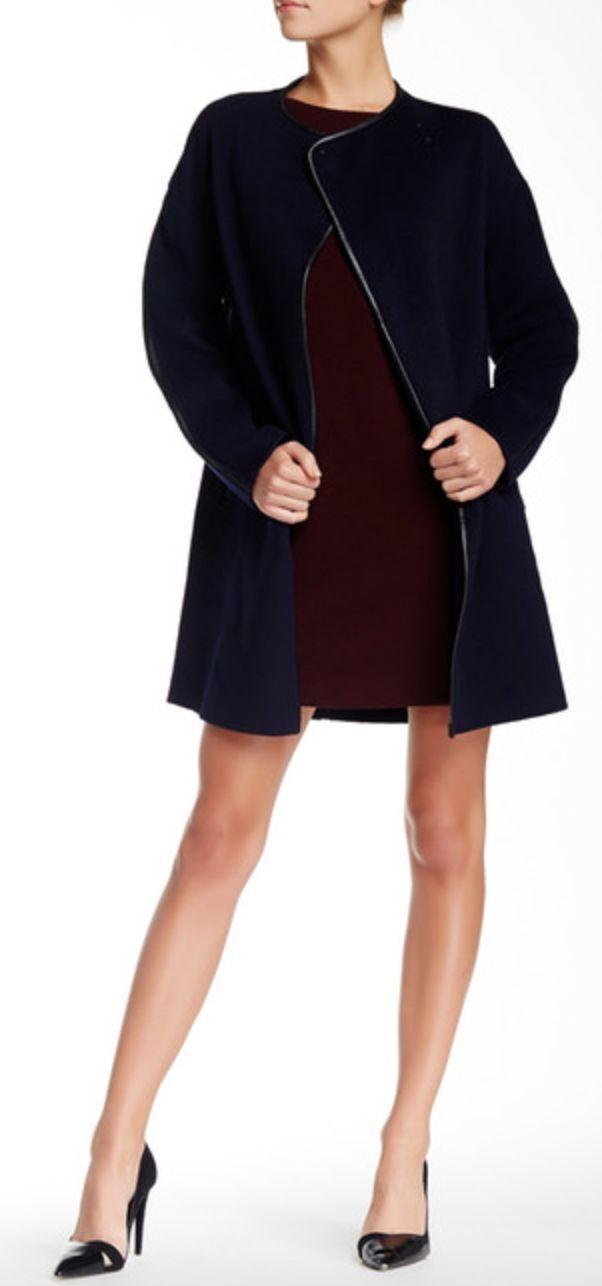 Vince Leather Trim Wool Blend Coat, Coast bluee, Size L