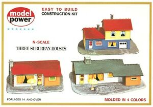3-Suburban-Houses-Model-RR-Layout-Kit-N-Scale-1-160-by-Model-Power