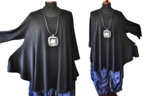 tunika xxxxxl Flügel 54 Lagenlook 4 Jersey 56 Schwarz Black Gr shirt wZwPnxd7