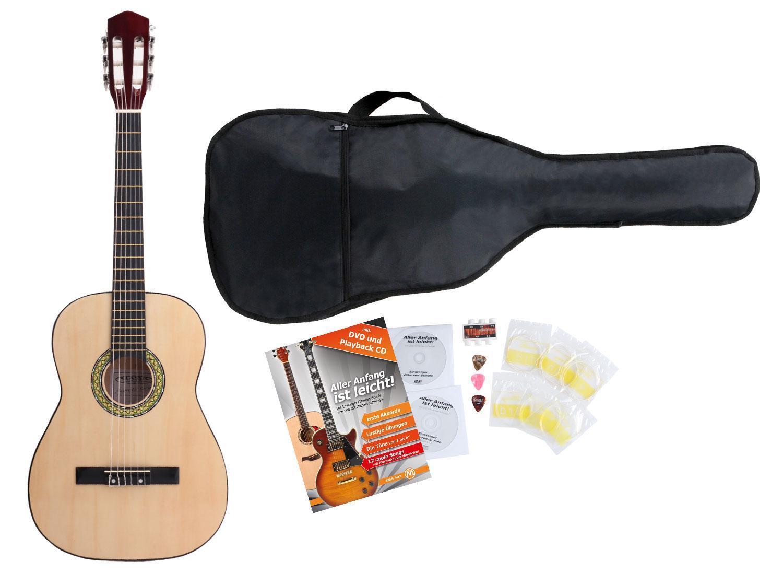 Acoustic Guitar Starter Pack Gigbag Nylon Strings Picks Tuner 3 4 Left-Handed
