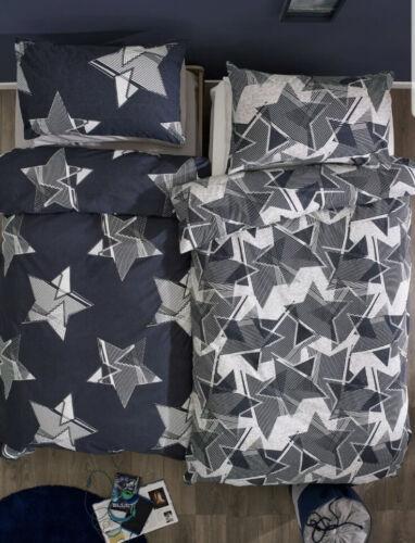 TODDLER * Next 2 Pack Navy Grey Geo Star  Printed Duvet Bed set New