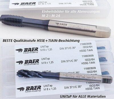 BAER UNiTap HSSE-TiAIN Maschinengewindebohrer Form B DIN 376 M 12 x 1,75 Gewindebohrer Durchgangsloch Gewindeschneider
