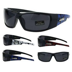 f5b982a111a Locs Mens Skull Print Cholo Warp Biker Plastic Sport Sunglasses
