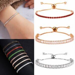 Crystal-Silver-Rose-Gold-Slider-Bracelet-Adjustable-Bangle-Womens-Card-Jewellery
