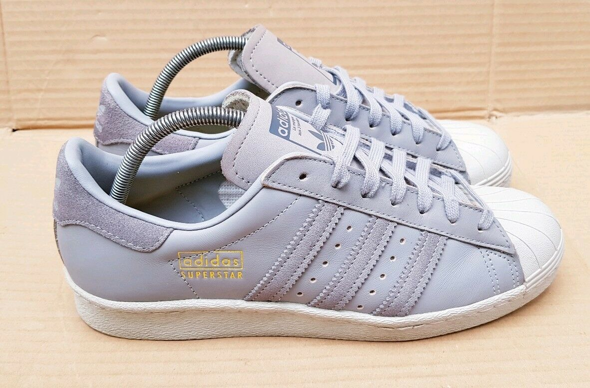 RARE ADIDAS SUPERSTAR 80's 80's SUPERSTAR SHELL TOE TRAINERS SIZE 6.5 UK GREY GOLD LOGO BOXED 3cd13e