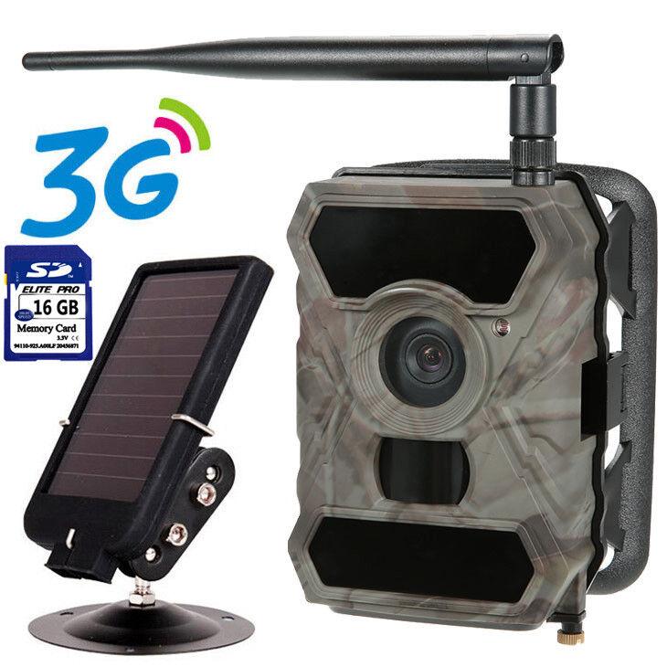 16GB 3G Cámara de caza mms GPRS Juego De Seguridad WG-890WG + tarjeta de panel solar &