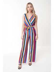 dd8c9cc53ed8 Womens Multi Rainbow Striped Jumpsuit Wide Leg Tie Belt Wrap Front ...