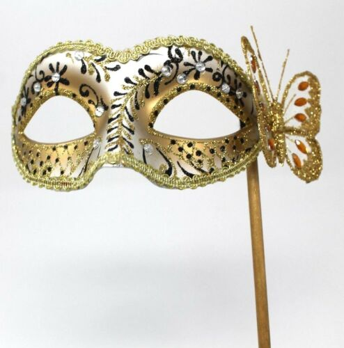Black And Gold Venetian Masquerade Party Prom Carnival Eye Mask Hand Held Stick