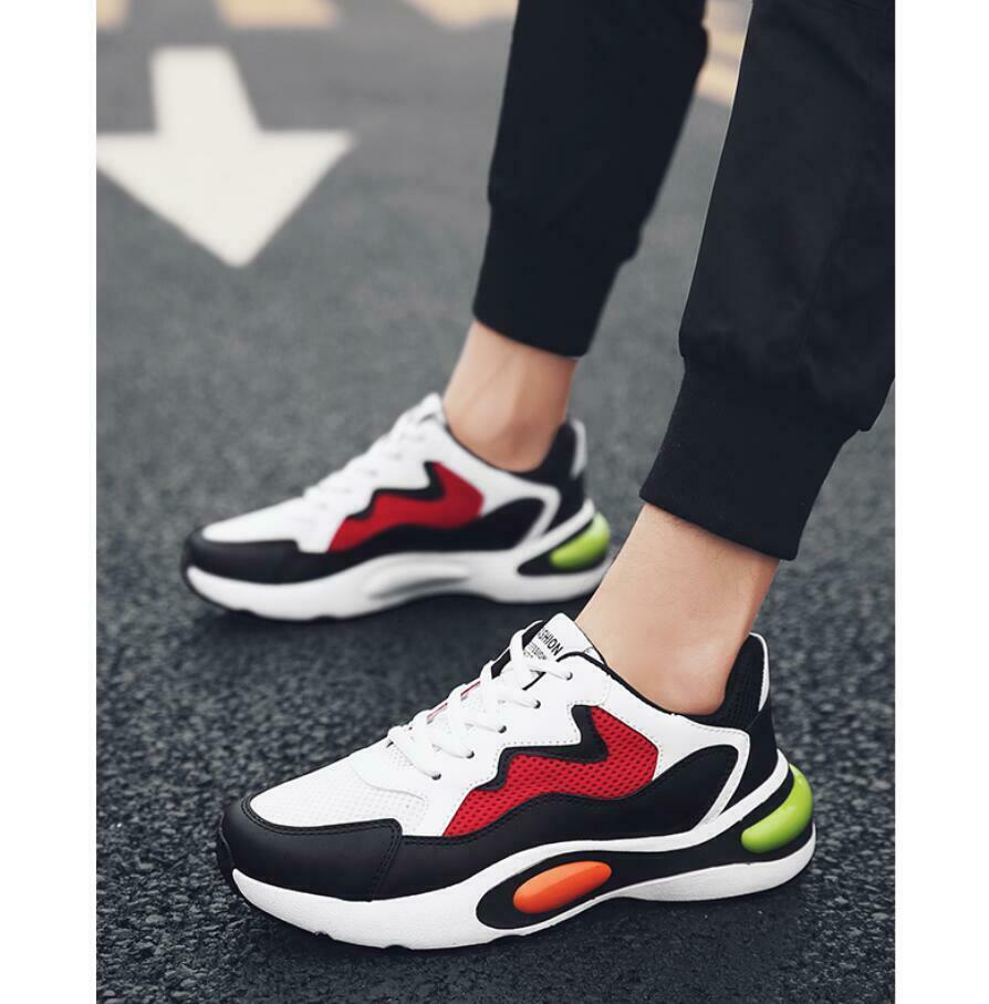 Fashion Men's Casual Sneakers Retro Running Lace Up Shoes Flats Leather Trainers
