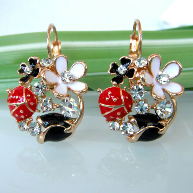 Navachi Bug Ladybug Flower Rose Enamel 18K GP Crystal Leverback Earrings BH1491