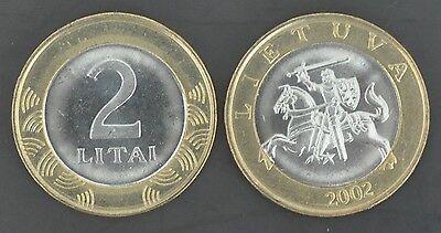 BIMETAL 2 LITAI UNC COIN 2002 YEAR LITHUANIA