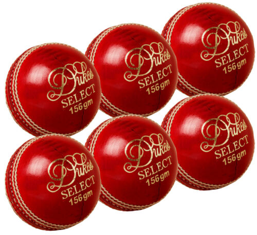 156g 6 x Dukes Select Match Leather Cricket Balls Adult 5.5oz Hand Sewn