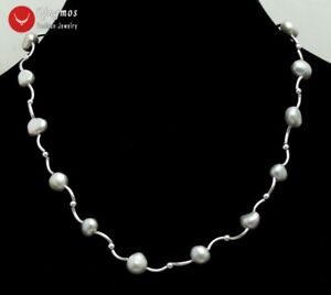 Floating-8-9mm-Baroque-Gray-Natural-Pearl-Necklace-for-Women-Jewelry-17-039-039-ne6461