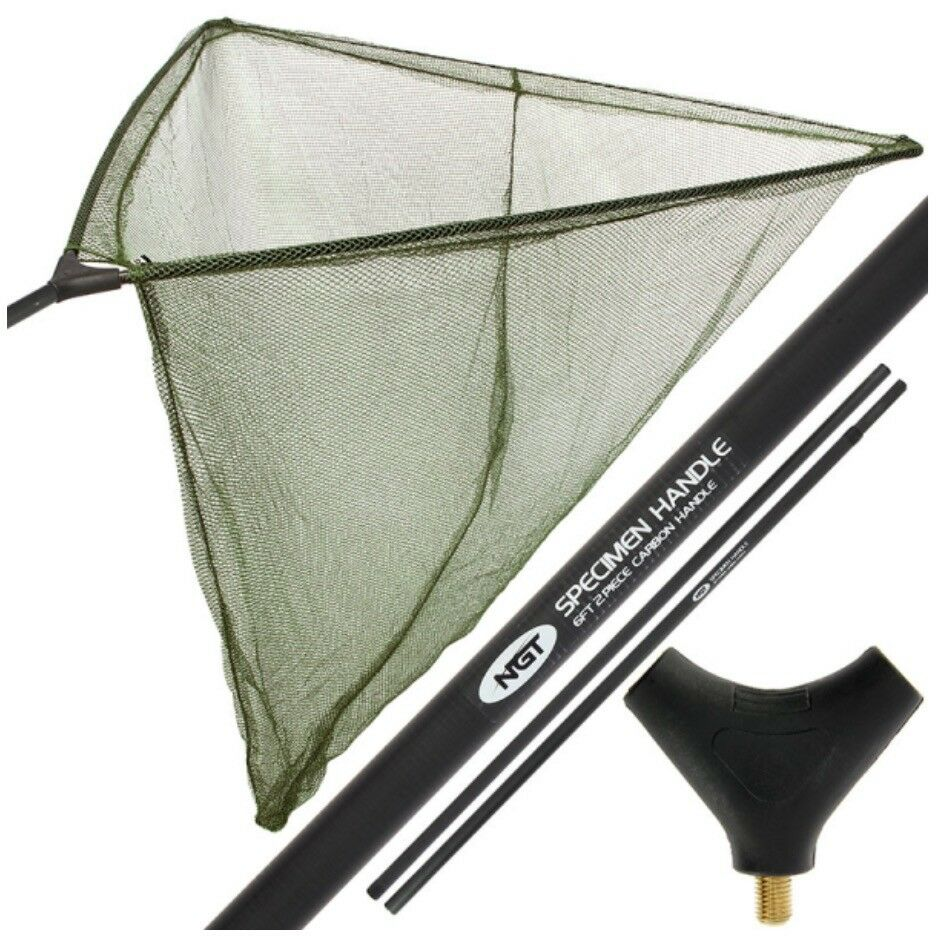 42  Inch Large Carp Fishing Landing Net with Carbon Arms 6ft 2pc Handle Bag NGT