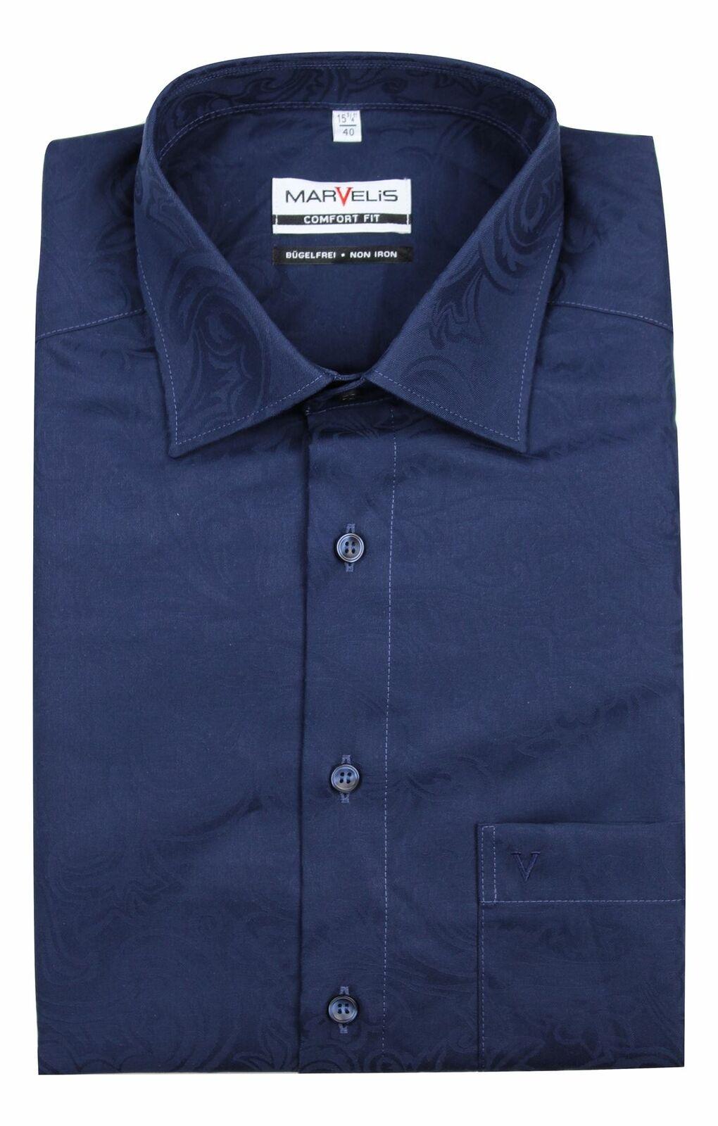 Navy Jaquard Spread Collar