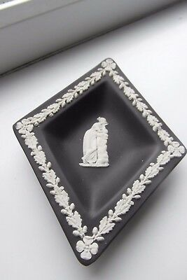 Wedgwood Black Dish Diamond Shape Jasper Ware Lady British