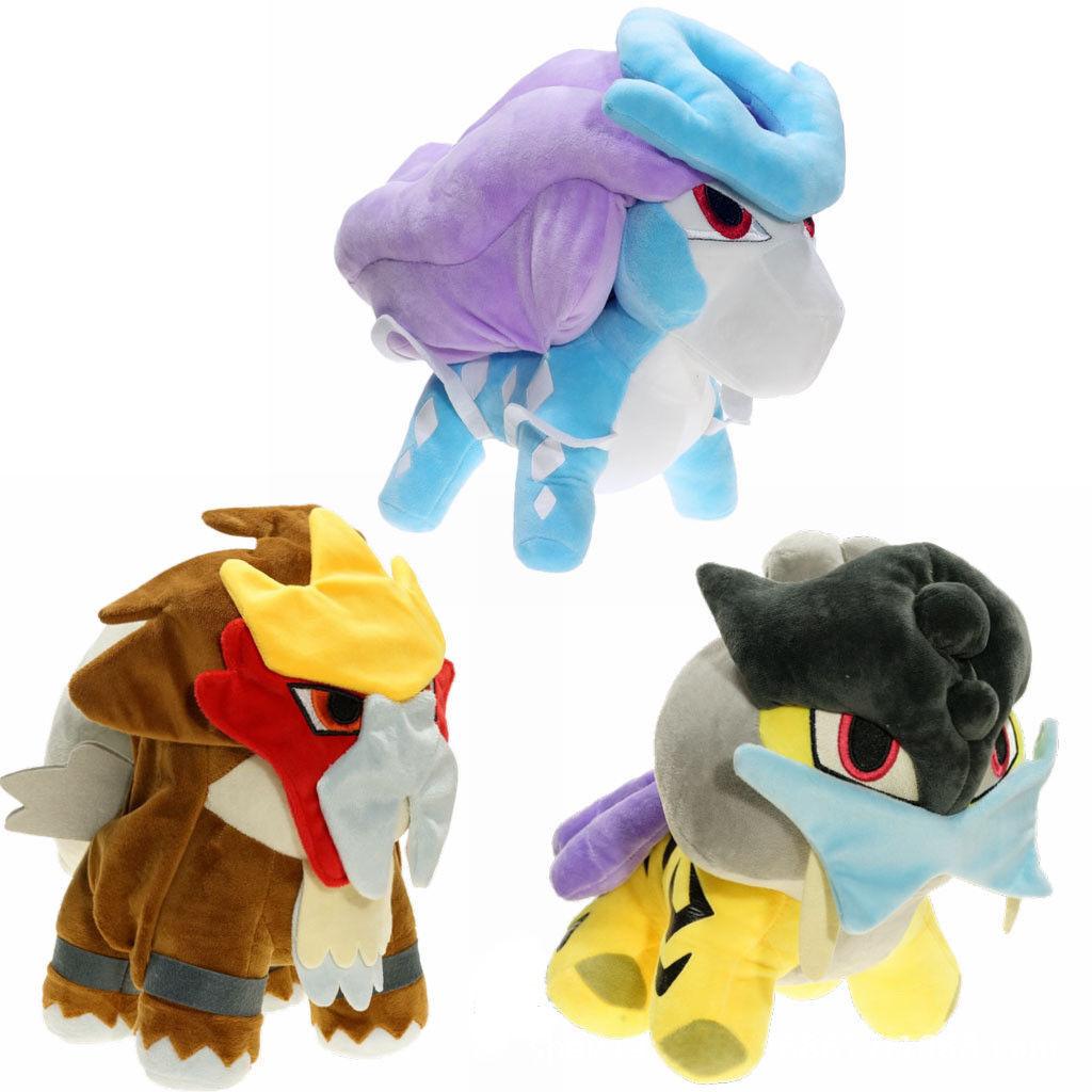 3X Pokemon Center Raikou Entei Suicune Soft Plush Doll Stuffed Toy Kids Gift 6