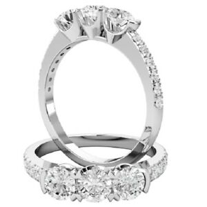 1.00 Ct Round Cut Moissanite Engagement Superb Rings 18K Solid White Gold Size 7