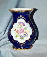 Vase Wallendorf, Kobaltblau, Gold, Blumendekor