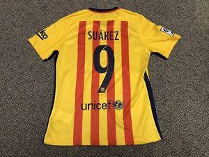 competitive price 9173f 3ea9c Details about 2015 2016 Fc Barcelona Luis Suarez Away Jersey Shirt Kit M  Medium Nike Yellow 9