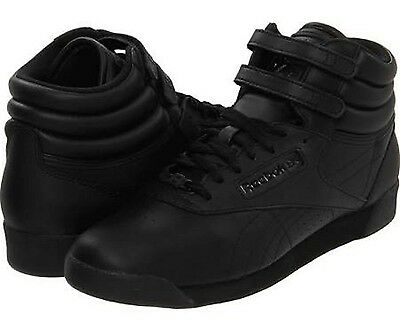 REEBOK J92633 FREESTYLE SIDE STRIPE WMN's (M) Black Leather Casual Hi Top Shoes