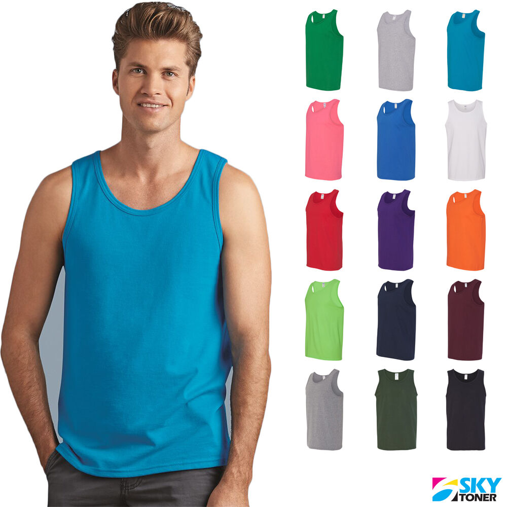 0b1fa1dc9a Details about Gildan Men's Heavy Cotton Tank Top Plain Tee Muscle Gym  Sleeveless - 5200