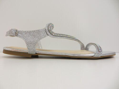 New Women Caleb19 Flat Sandal AnkleStrap Rhinestone Shoe by Bamboo