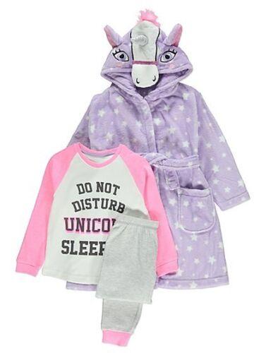 Girls Unicorn Hooded Dressing Gown Robe Pj/'s 4 Piece Hot Water Bottle Set Purple