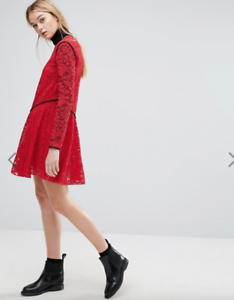 Sportmax-Code-Bosforo-Red-Lace-Dress-NEW-Size-XS