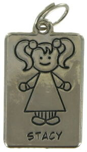 """Girl Name Jewelry Line Drawing Charm Silver Tone 1.5"""" Pendant - """"Stacy"""""""