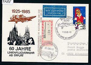 97388) Rda, 60 J. Du Trafic Aérien à Partir De Erfurt So-kte 11.5.85, Lp-reco > Suisse Ef 80pf-afficher Le Titre D'origine