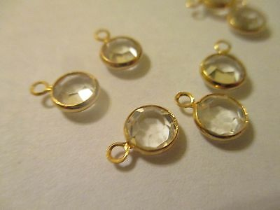 10 ~ 7 mm  Swarovski Crystal One Loop  Gold Plated Brass Drop Charms  CH2