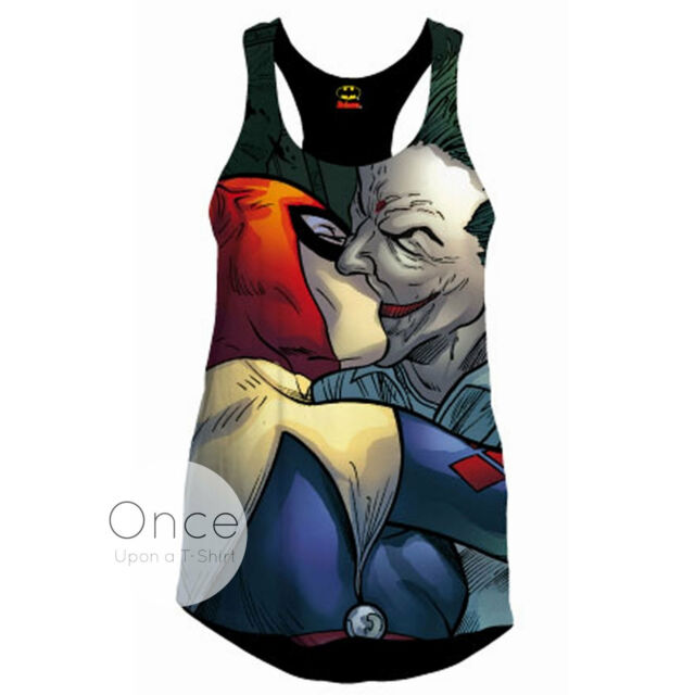 Donna Ufficiale Dc Comics Joker e Arlecchino Bacio Canotta T-Shirt