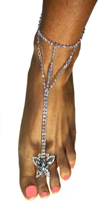 Rhinestone Crystal Slave Harems Barefoot Anklet Exotic Belly Dancer Clear
